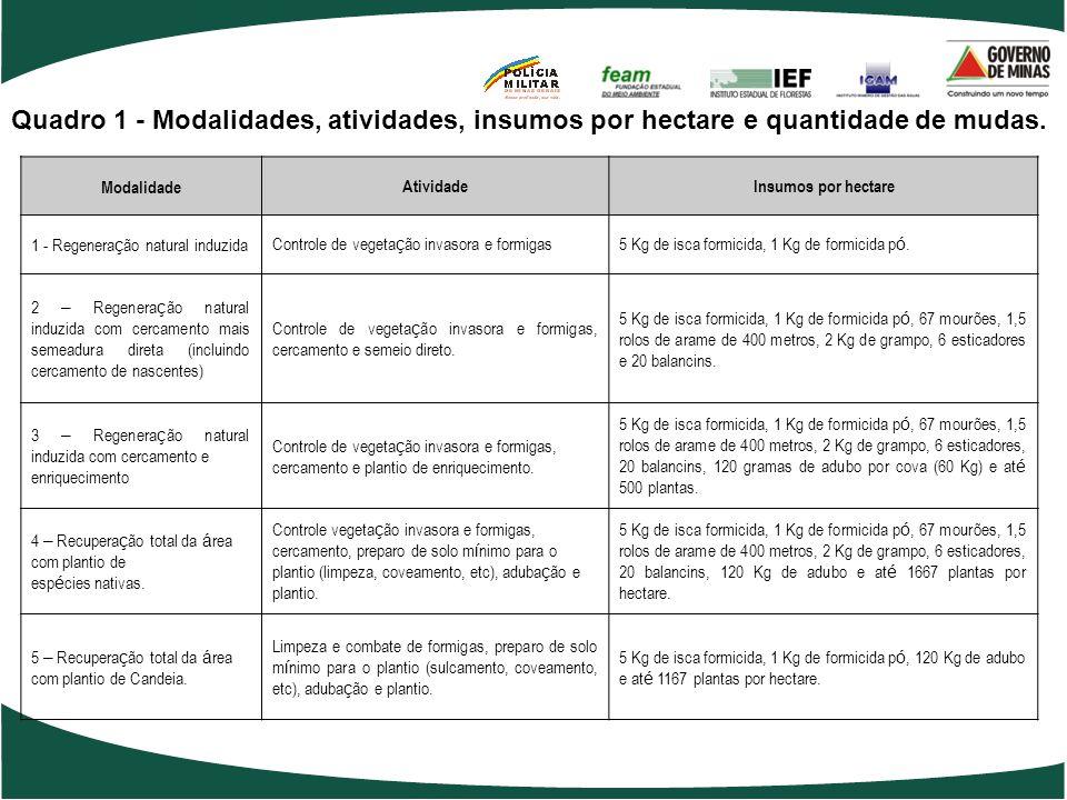 Meta da Ação 1060 - Ampliação das áreas de vegetação nativa e promoção da conectividade entre fragmentos florestais – 120.000 hectares. Modalidades An