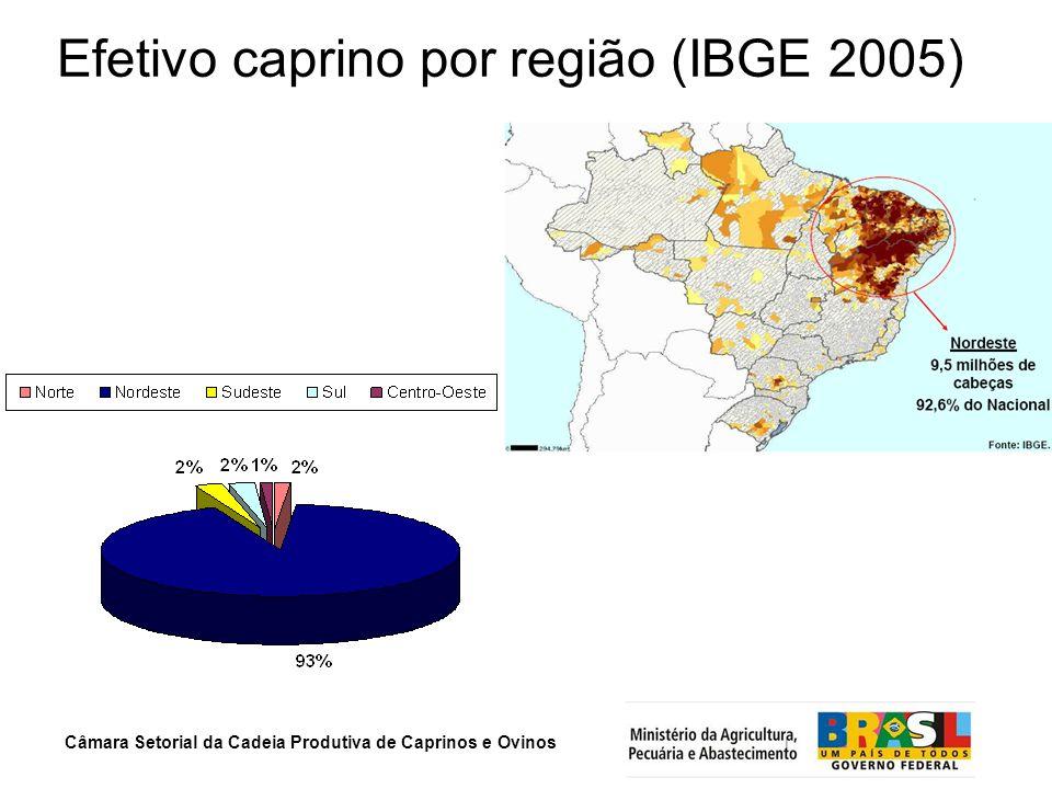 Câmara Setorial da Cadeia Produtiva de Caprinos e Ovinos Efetivo caprino por região (IBGE 2005)