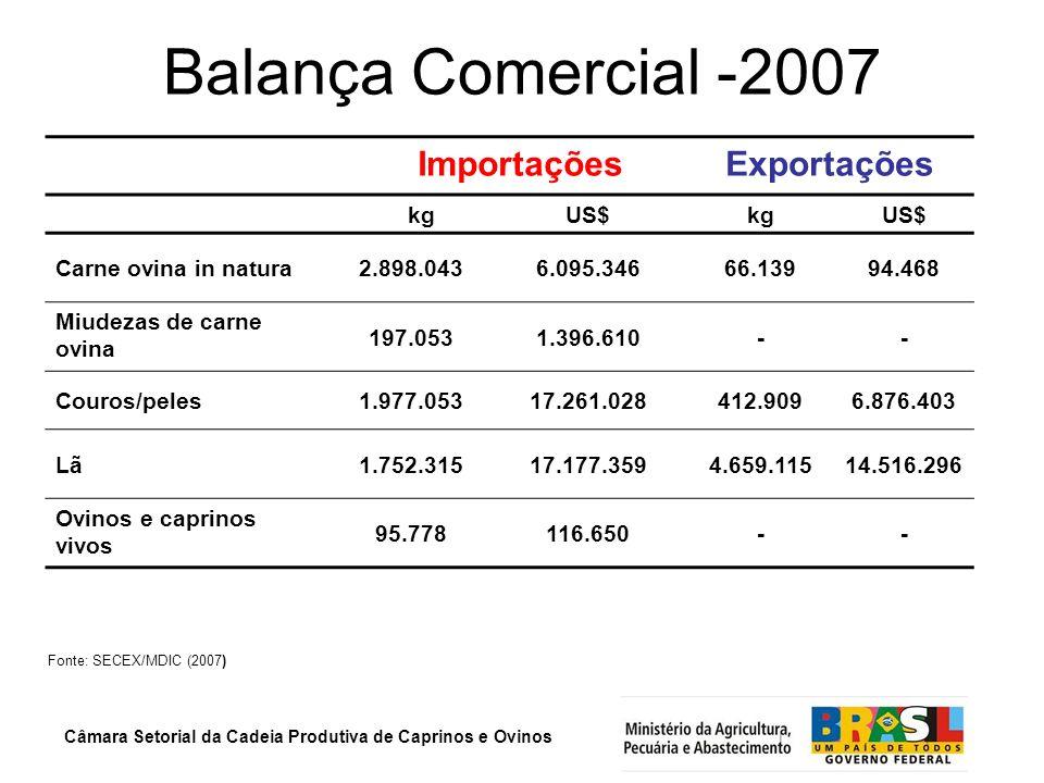 Câmara Setorial da Cadeia Produtiva de Caprinos e Ovinos Balança Comercial -2007 Fonte: SECEX/MDIC (2007) ImportaçõesExportações kgUS$kgUS$ Carne ovin