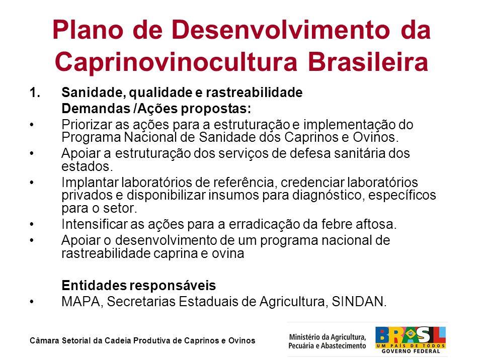 Câmara Setorial da Cadeia Produtiva de Caprinos e Ovinos Plano de Desenvolvimento da Caprinovinocultura Brasileira 1. Sanidade, qualidade e rastreabil