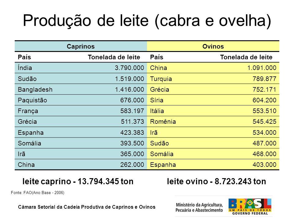Câmara Setorial da Cadeia Produtiva de Caprinos e Ovinos Produção de lã – mundo e mercosul PaísesProdução de lã (ton) Austrália519.660 China388.777 Nova Zelândia209.250 Argentina (5º)60.000 Uruguai (14º)37.196 Fonte: FAO (Ano Base – 2006)