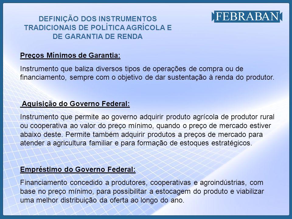 DEFINIÇÃO DOS INSTRUMENTOS TRADICIONAIS DE POLÍTICA AGRÍCOLA E DE GARANTIA DE RENDA (cont....) Linha Especial de Crédito à Comercialização - LEC: Instrumento de apoio a comercialização, tem operação similar a do EGF.