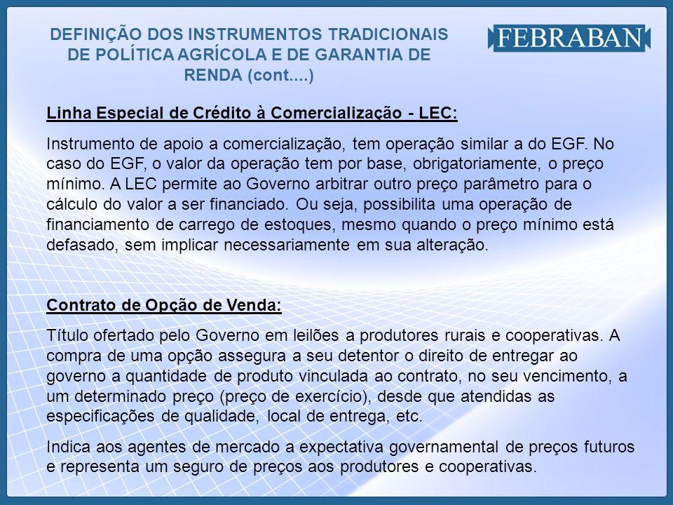 DEFINIÇÃO DOS INSTRUMENTOS TRADICIONAIS DE POLÍTICA AGRÍCOLA E DE GARANTIA DE RENDA (cont....) Linha Especial de Crédito à Comercialização - LEC: Inst