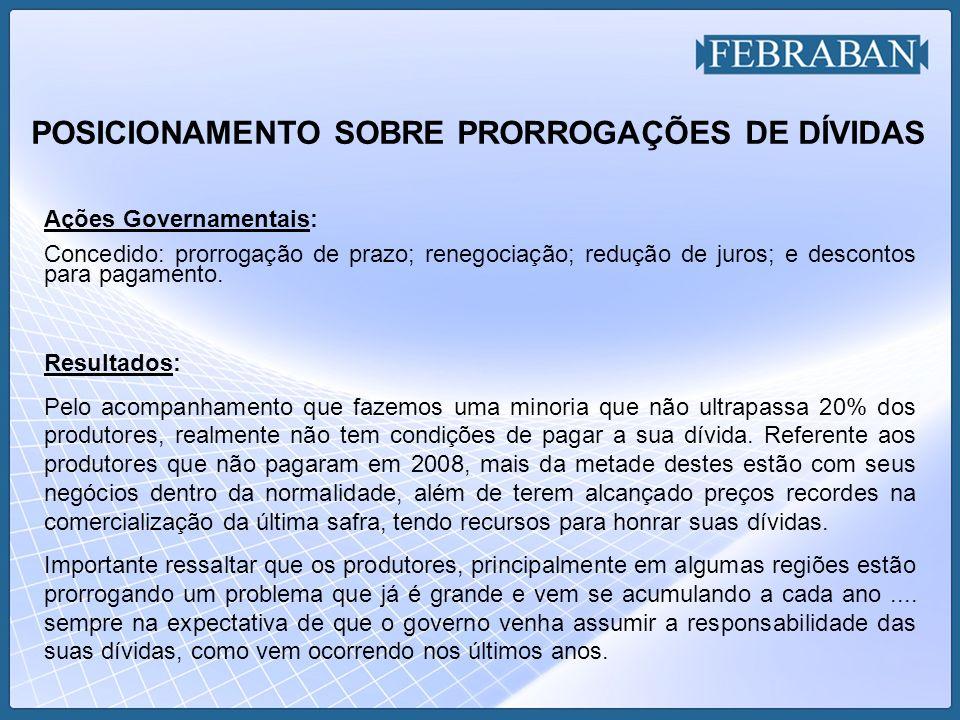 POSICIONAMENTO SOBRE PRORROGAÇÕES DE DÍVIDAS Ações Governamentais: Concedido: prorrogação de prazo; renegociação; redução de juros; e descontos para p