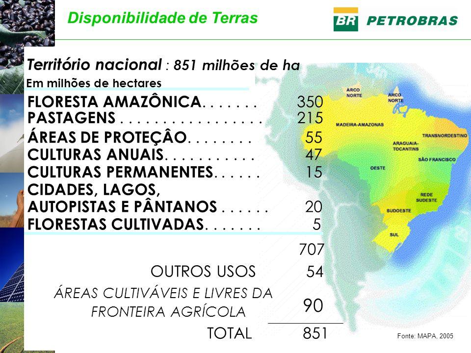 Território nacional : 851 milhões de ha Em milhões de hectares FLORESTA AMAZÔNICA....... 350 PASTAGENS................. 215 ÁREAS DE PROTEÇÂO........