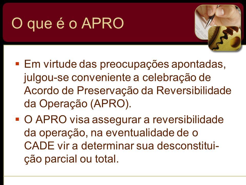 O que é o APRO Em virtude das preocupações apontadas, julgou-se conveniente a celebração de Acordo de Preservação da Reversibilidade da Operação (APRO