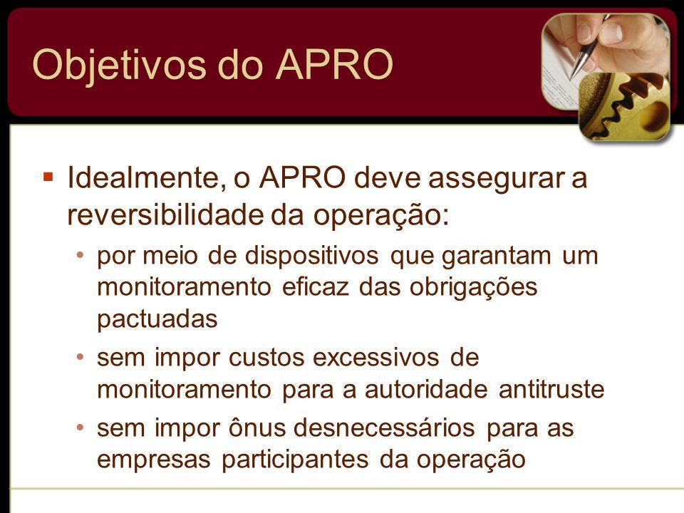 Objetivos do APRO Idealmente, o APRO deve assegurar a reversibilidade da operação: por meio de dispositivos que garantam um monitoramento eficaz das o