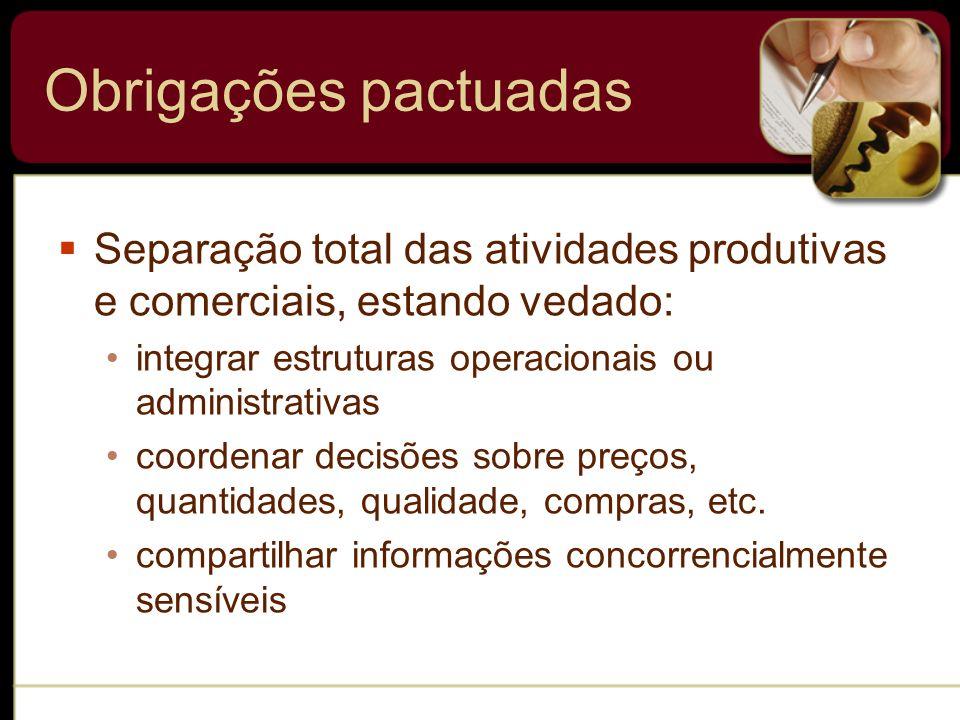 Obrigações pactuadas Separação total das atividades produtivas e comerciais, estando vedado: integrar estruturas operacionais ou administrativas coord