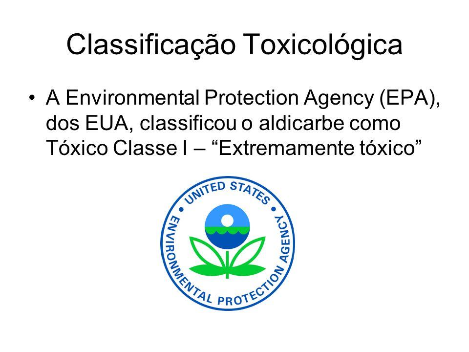 Classificação Toxicológica A Environmental Protection Agency (EPA), dos EUA, classificou o aldicarbe como Tóxico Classe I – Extremamente tóxico