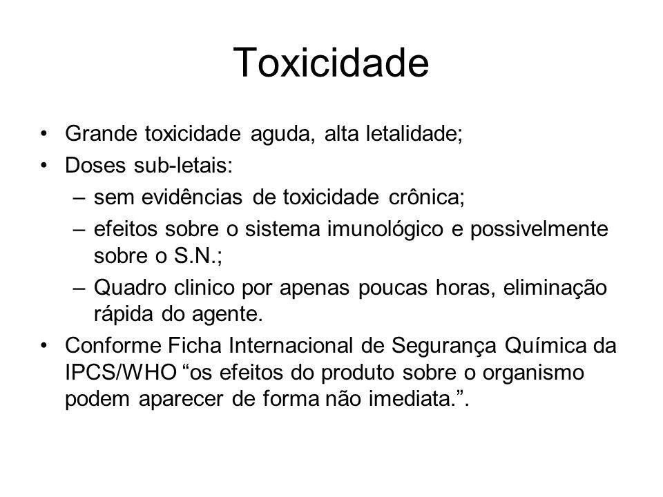 Toxicidade Grande toxicidade aguda, alta letalidade; Doses sub-letais: –sem evidências de toxicidade crônica; –efeitos sobre o sistema imunológico e p
