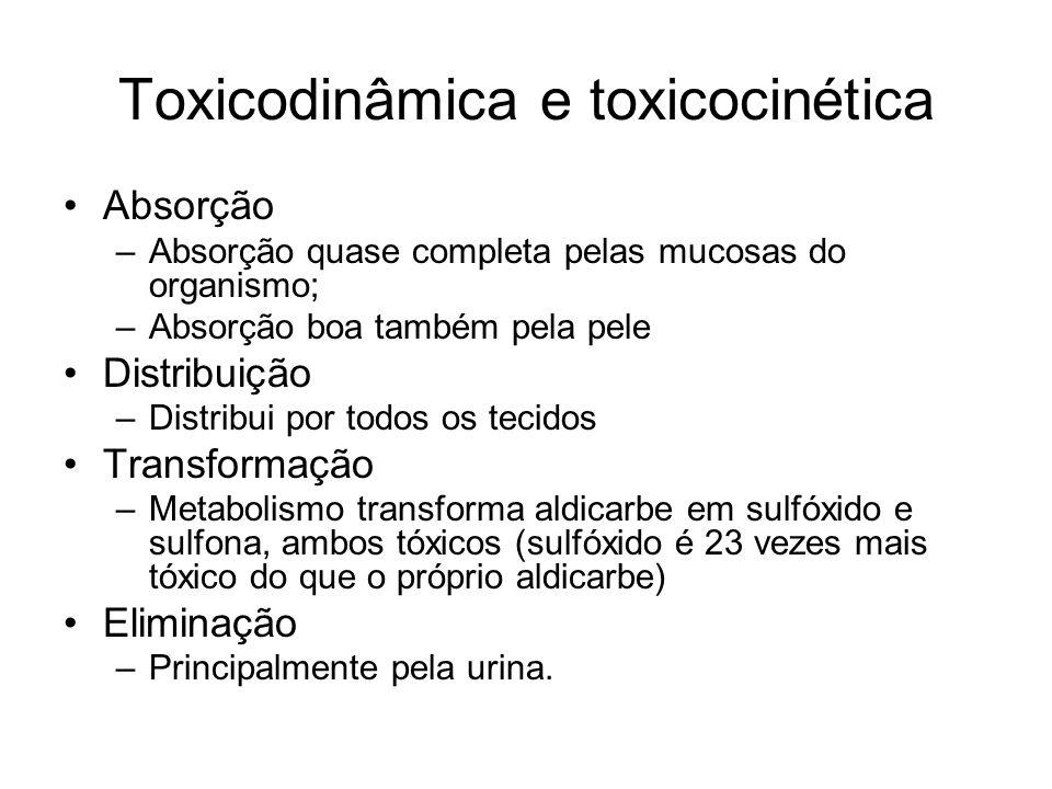 Toxicodinâmica e toxicocinética Absorção –Absorção quase completa pelas mucosas do organismo; –Absorção boa também pela pele Distribuição –Distribui p