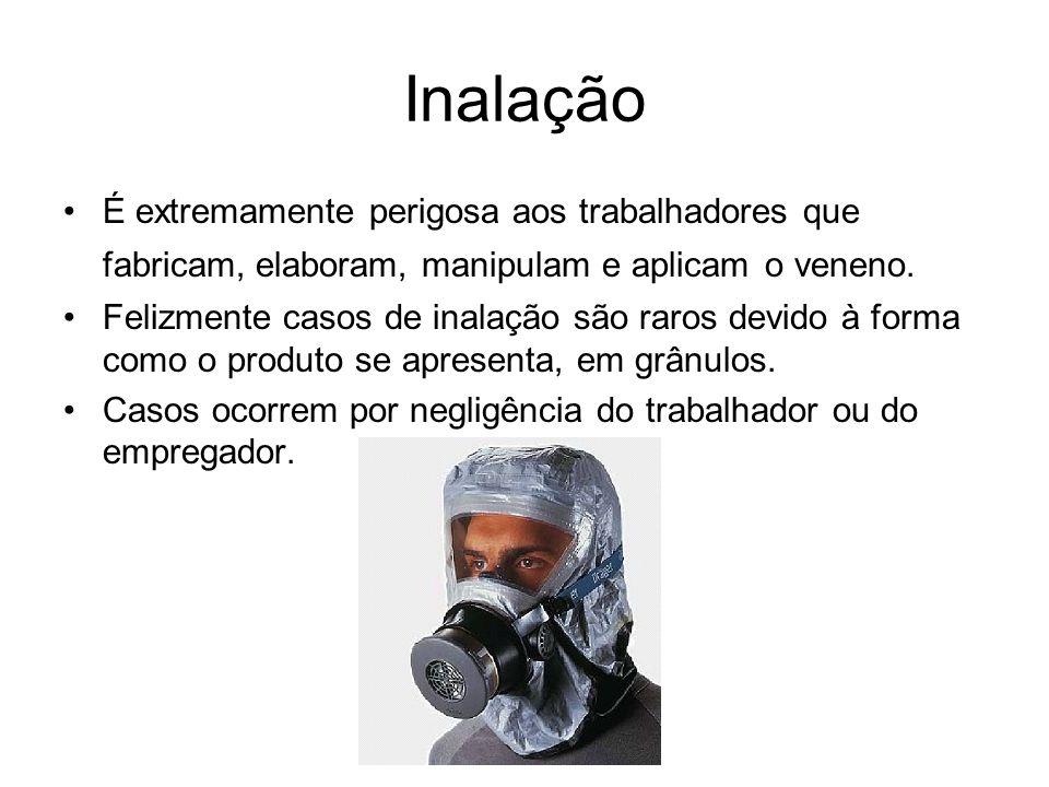 Inalação É extremamente perigosa aos trabalhadores que fabricam, elaboram, manipulam e aplicam o veneno. Felizmente casos de inalação são raros devido
