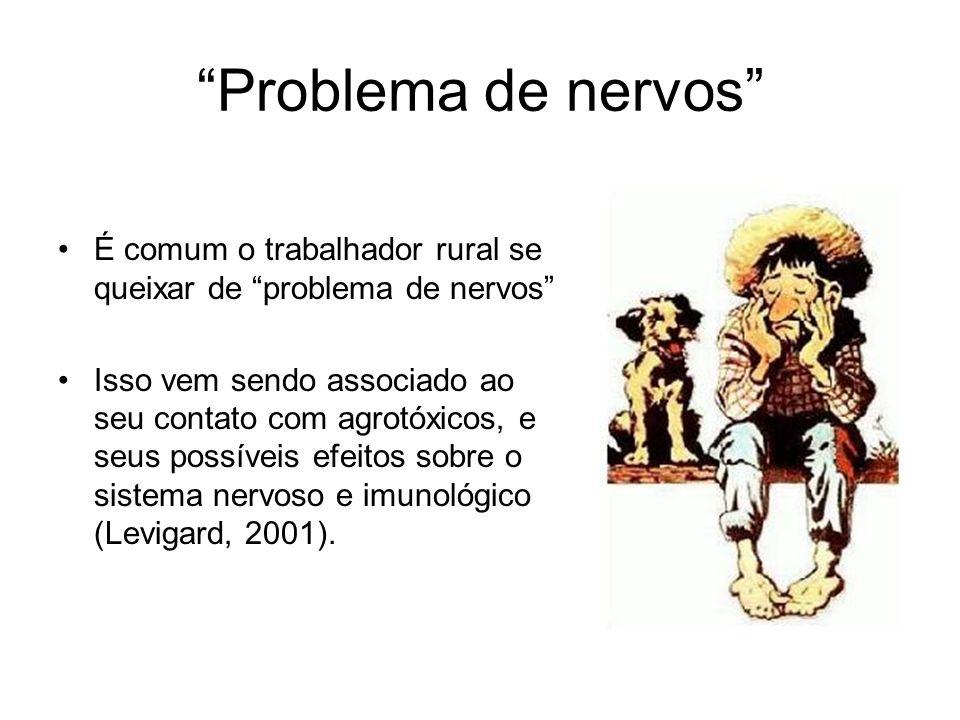 Problema de nervos É comum o trabalhador rural se queixar de problema de nervos Isso vem sendo associado ao seu contato com agrotóxicos, e seus possív