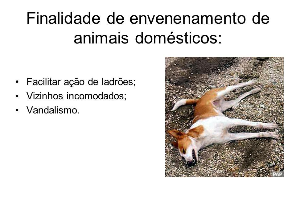Facilitar ação de ladrões; Vizinhos incomodados; Vandalismo. Finalidade de envenenamento de animais domésticos: