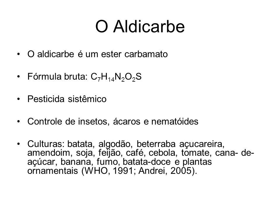O Aldicarbe O aldicarbe é um ester carbamato Fórmula bruta: C 7 H 14 N 2 O 2 S Pesticida sistêmico Controle de insetos, ácaros e nematóides Culturas: