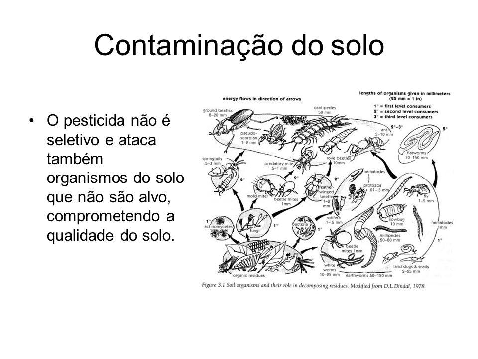 Contaminação do solo O pesticida não é seletivo e ataca também organismos do solo que não são alvo, comprometendo a qualidade do solo.