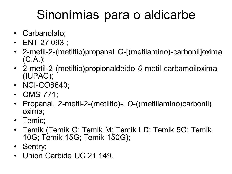 Sinonímias para o aldicarbe Carbanolato; ENT 27 093 ; 2-metil-2-(metiltio)propanal O-[(metilamino)-carbonil]oxima (C.A.); 2-metil-2-(metiltio)propiona