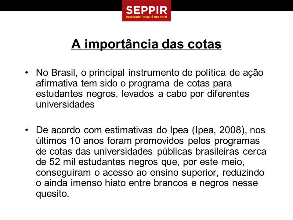 A importância das cotas No Brasil, o principal instrumento de política de ação afirmativa tem sido o programa de cotas para estudantes negros, levados