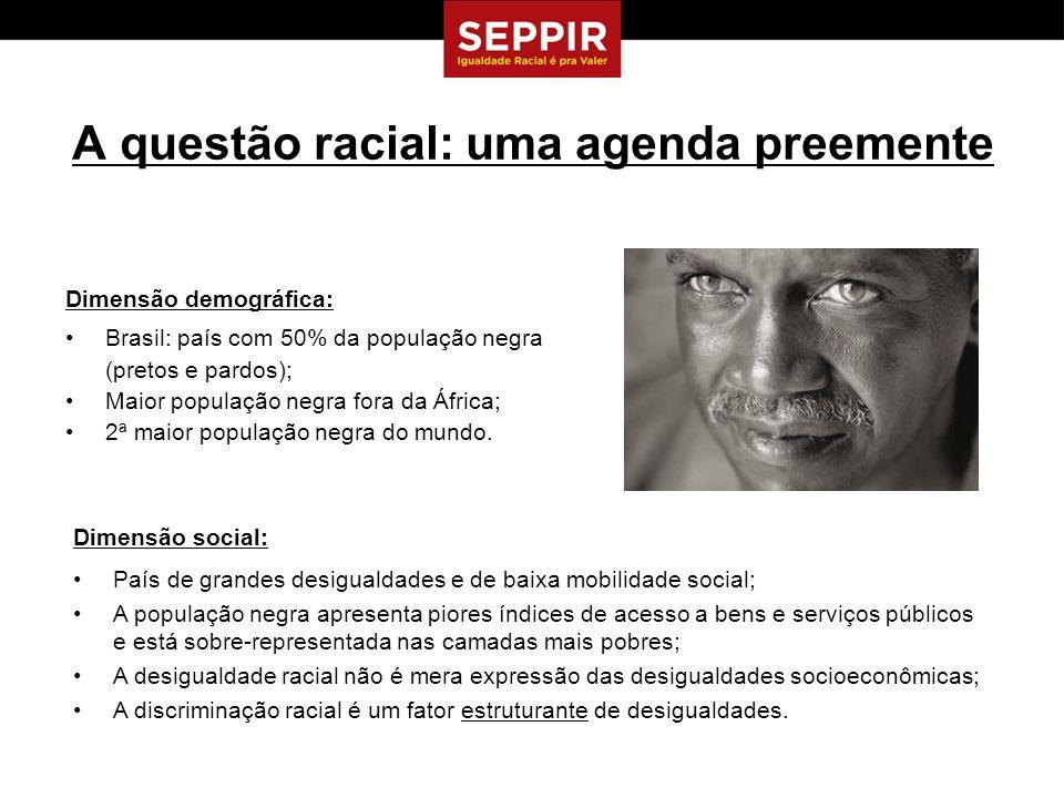 A questão racial: uma agenda preemente Dimensão demográfica: Brasil: país com 50% da população negra (pretos e pardos); Maior população negra fora da