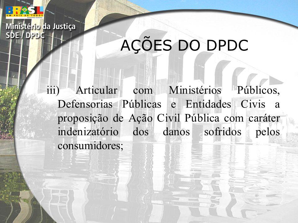 AÇÕES DO DPDC iii) Articular com Ministérios Públicos, Defensorias Públicas e Entidades Civis a proposição de Ação Civil Pública com caráter indenizat