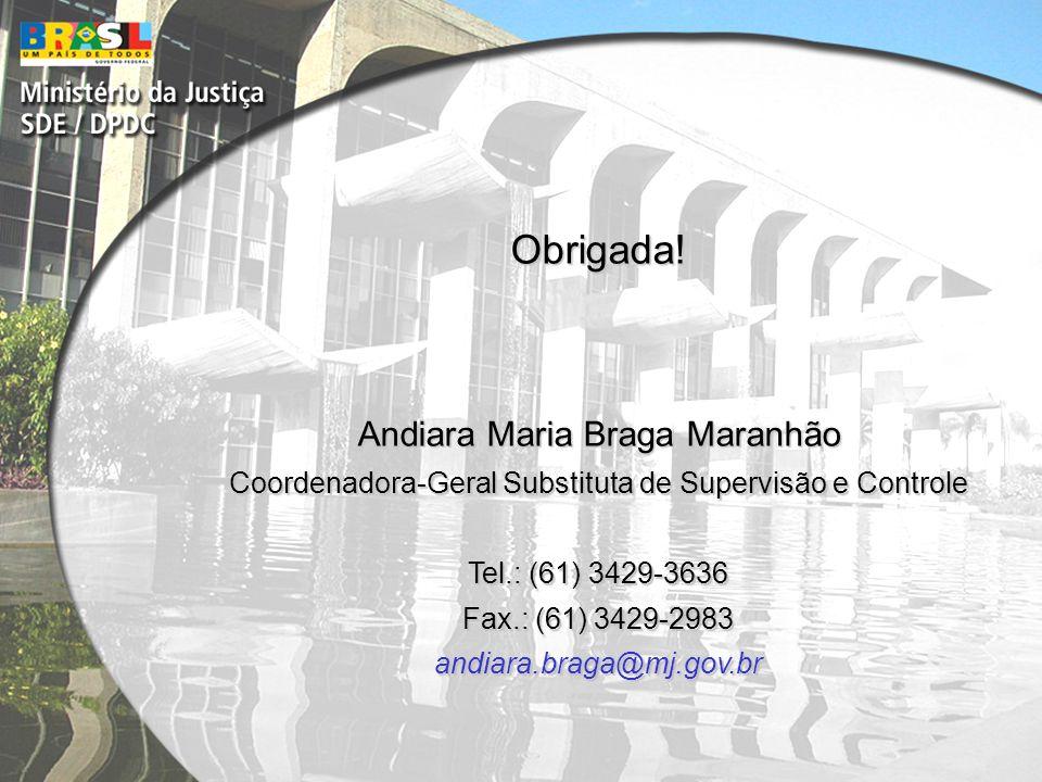 Obrigada! Andiara Maria Braga Maranhão Coordenadora-Geral Substituta de Supervisão e Controle Tel.: (61) 3429-3636 Fax.: (61) 3429-2983 andiara.braga@