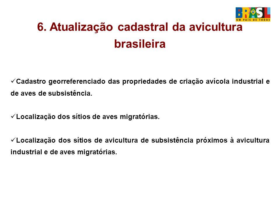 6. Atualização cadastral da avicultura brasileira Cadastro georreferenciado das propriedades de criação avícola industrial e de aves de subsistência.