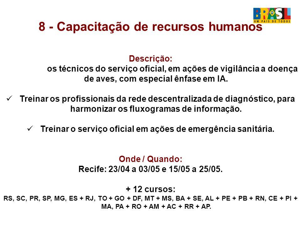 8 - Capacitação de recursos humanos Descrição: Treinar os técnicos do serviço oficial, em ações de vigilância a doença de aves, com especial ênfase em IA.