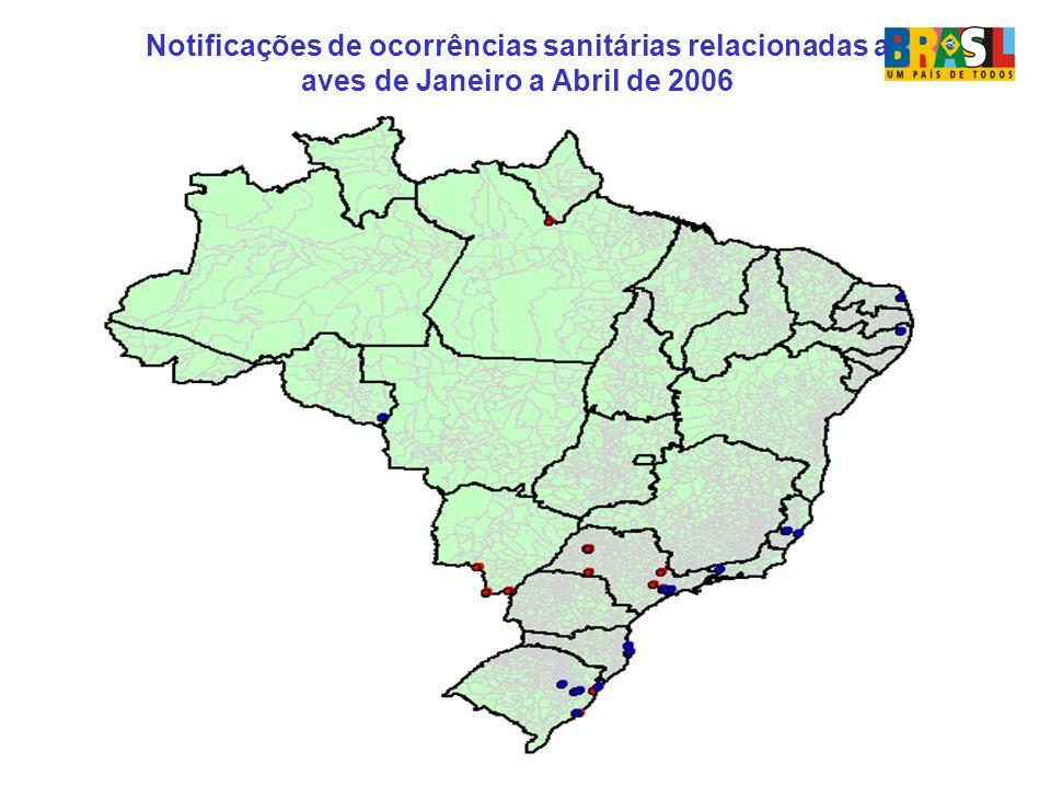Notificações de ocorrências sanitárias relacionadas a aves de Janeiro a Abril de 2006