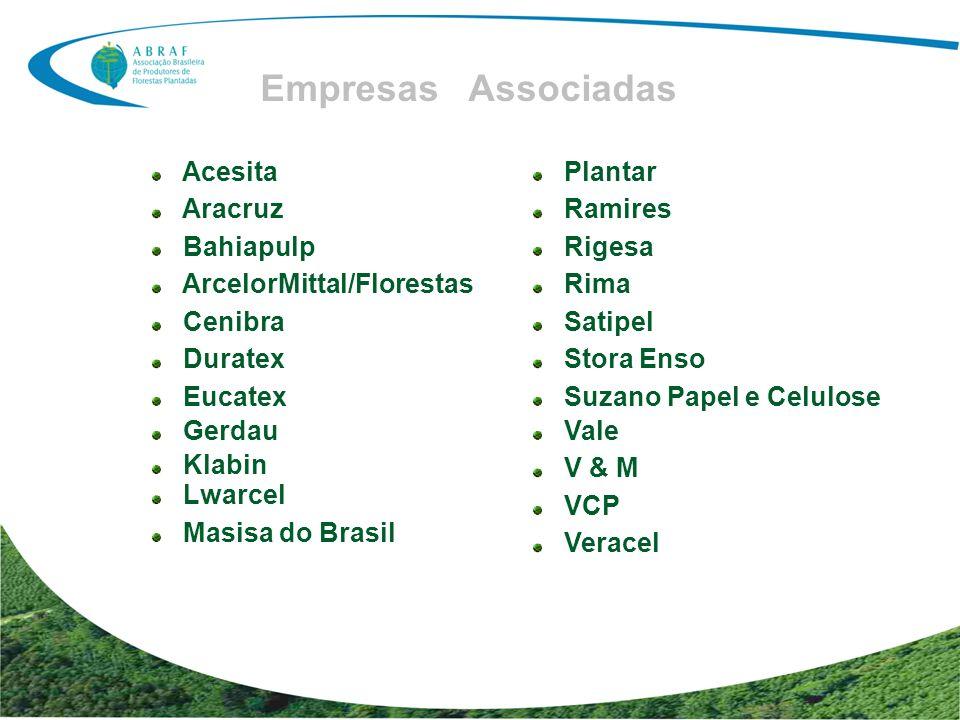 Entidades de Classe Associadas ABAF – Associação de Produtores de Florestas Plantadas do Estado da Bahia ACR – Associação Catarinense de Empresas Florestais AGEFLOR – Associação Gaúcha de Empresas Florestais AMS – Associação Mineira de Silvicultura APRE – Associação Paranaense de Empresas de Base Florestal FLORESTAR SÃO PAULO REFLORE – Associação Sul Mato-grossense dos produtores e Consumidores de Florestas Plantadas