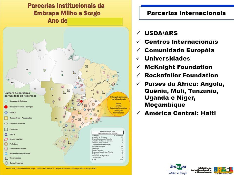 Parcerias Internacionais USDA/ARS Centros Internacionais Comunidade Européia Universidades McKnight Foundation Rockefeller Foundation Países da África