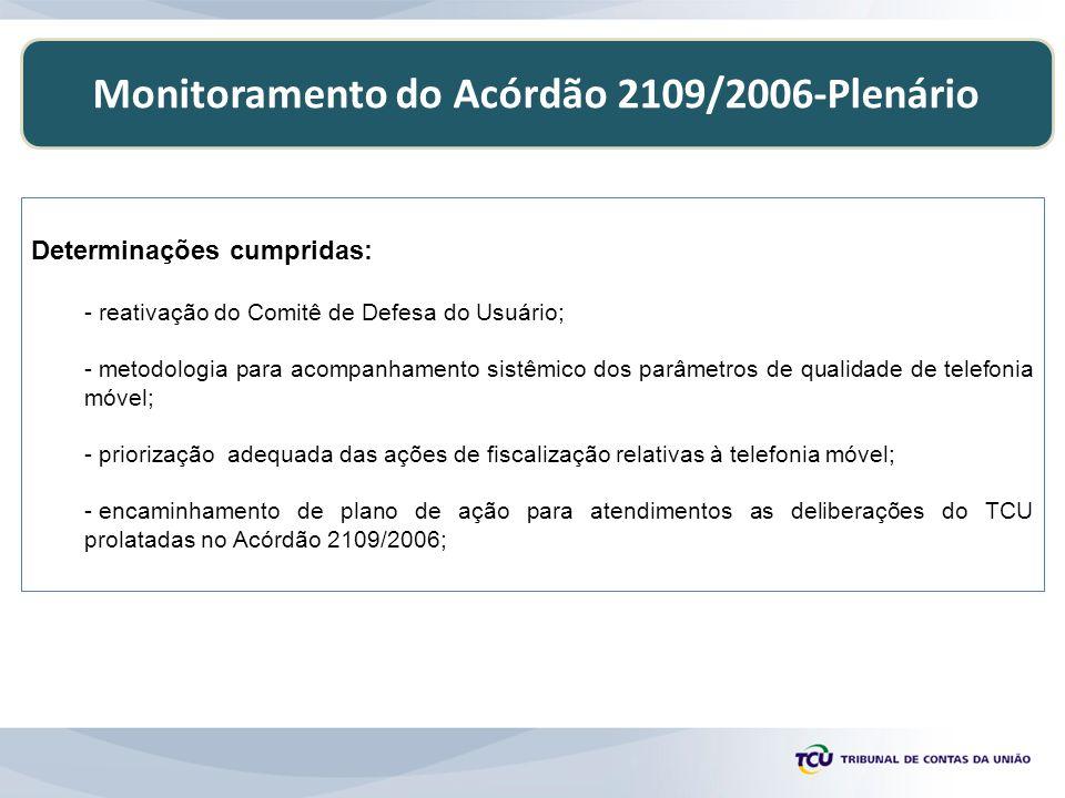 Monitoramento do Acórdão 2109/2006-Plenário Determinações cumpridas: - reativação do Comitê de Defesa do Usuário; - metodologia para acompanhamento si