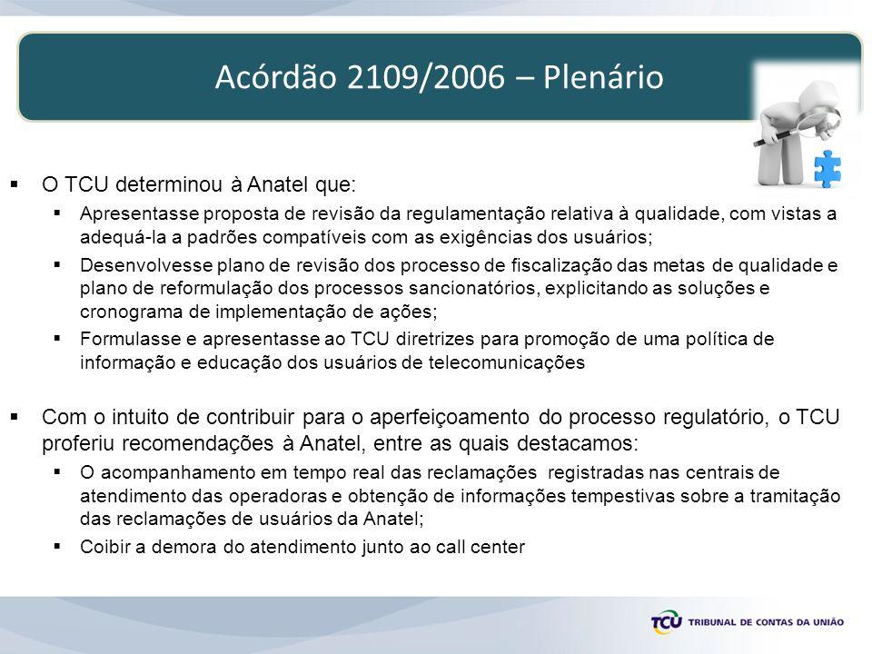 Acórdão 2109/2006 – Plenário O TCU determinou à Anatel que: Apresentasse proposta de revisão da regulamentação relativa à qualidade, com vistas a adeq