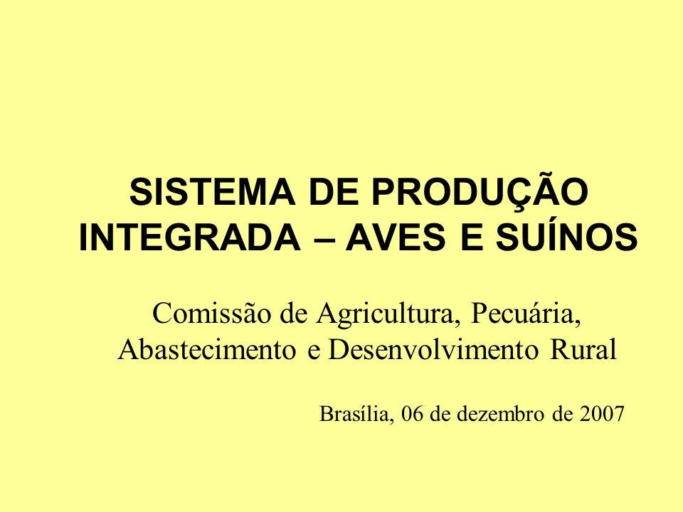 SISTEMA DE PRODUÇÃO INTEGRADA – AVES E SUÍNOS Comissão de Agricultura, Pecuária, Abastecimento e Desenvolvimento Rural Brasília, 06 de dezembro de 200