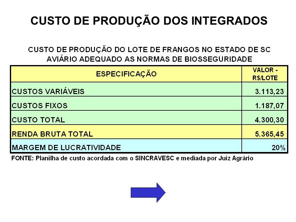 CUSTO DE PRODUÇÃO DOS INTEGRADOS