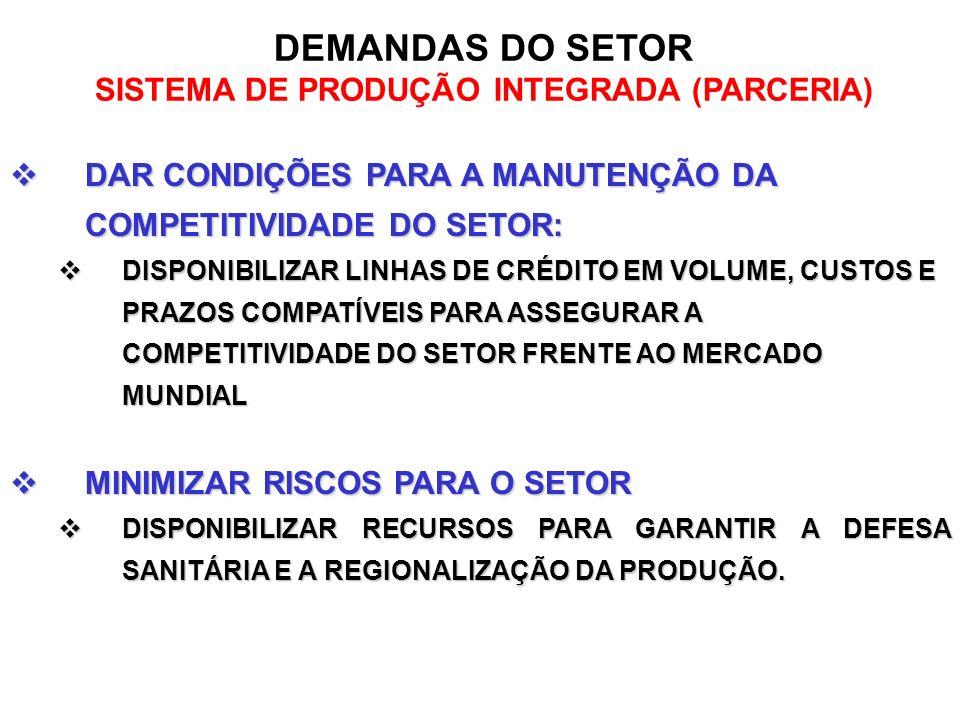 DEMANDAS DO SETOR SISTEMA DE PRODUÇÃO INTEGRADA (PARCERIA) DAR CONDIÇÕES PARA A MANUTENÇÃO DA COMPETITIVIDADE DO SETOR: DAR CONDIÇÕES PARA A MANUTENÇÃ