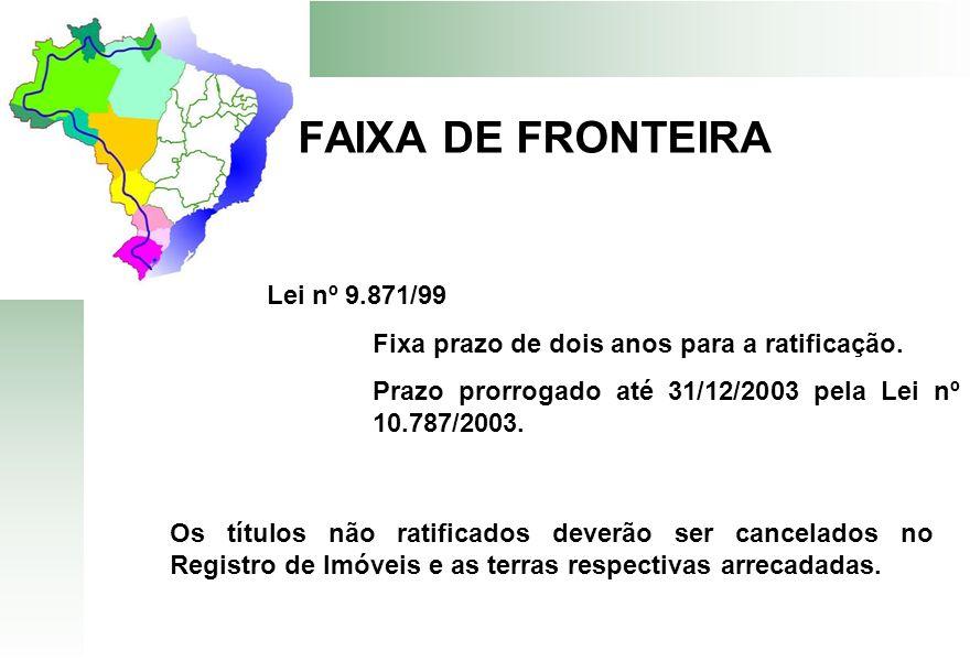 FAIXA DE FRONTEIRA Lei nº 9.871/99 Fixa prazo de dois anos para a ratificação. Prazo prorrogado até 31/12/2003 pela Lei nº 10.787/2003. Os títulos não