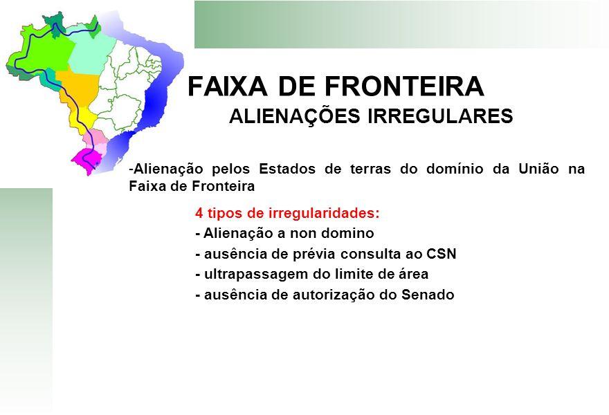 FAIXA DE FRONTEIRA ALIENAÇÕES IRREGULARES -Alienação pelos Estados de terras do domínio da União na Faixa de Fronteira 4 tipos de irregularidades: - A