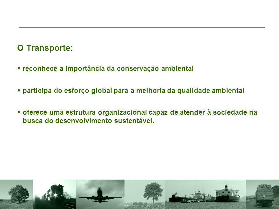 O Transporte: participa do esforço global para a melhoria da qualidade ambiental reconhece a importância da conservação ambiental oferece uma estrutur