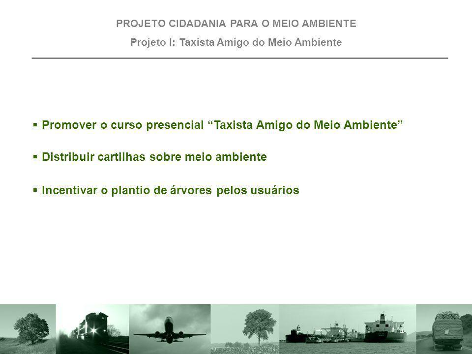 PROJETO CIDADANIA PARA O MEIO AMBIENTE Projeto I: Taxista Amigo do Meio Ambiente Promover o curso presencial Taxista Amigo do Meio Ambiente Distribuir