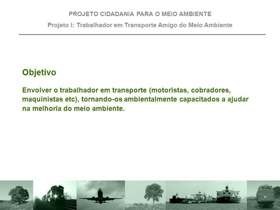Projeto I: Trabalhador em Transporte Amigo do Meio Ambiente Objetivo Envolver o trabalhador em transporte (motoristas, cobradores, maquinistas etc), t