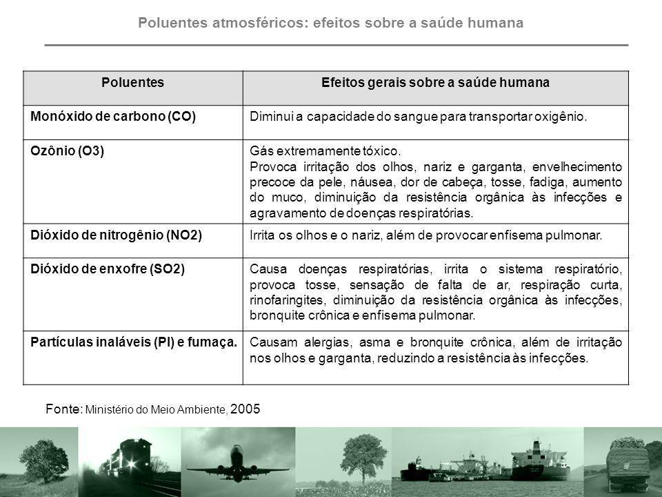 Chuva ácida: efeitos sobre o meio ambiente Fonte: Ministério do Meio Ambiente, 2005 PoluenteEfeitos sobre o meio ambiente Dióxido de enxofre (SO2)Corrói as construções.