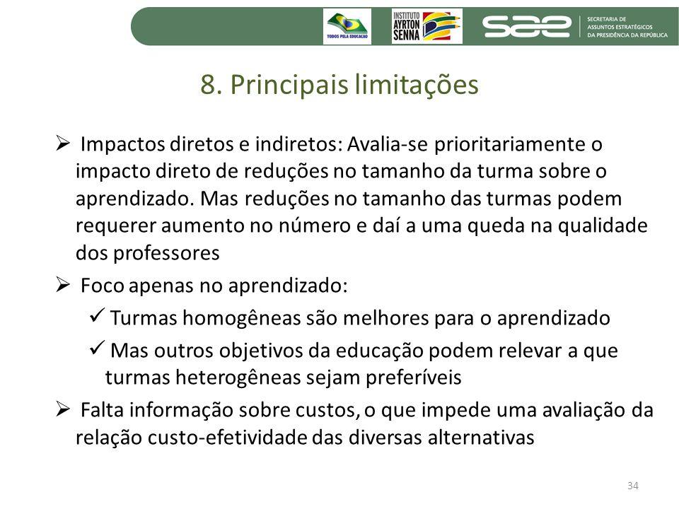 8. Principais limitações Impactos diretos e indiretos: Avalia-se prioritariamente o impacto direto de reduções no tamanho da turma sobre o aprendizado