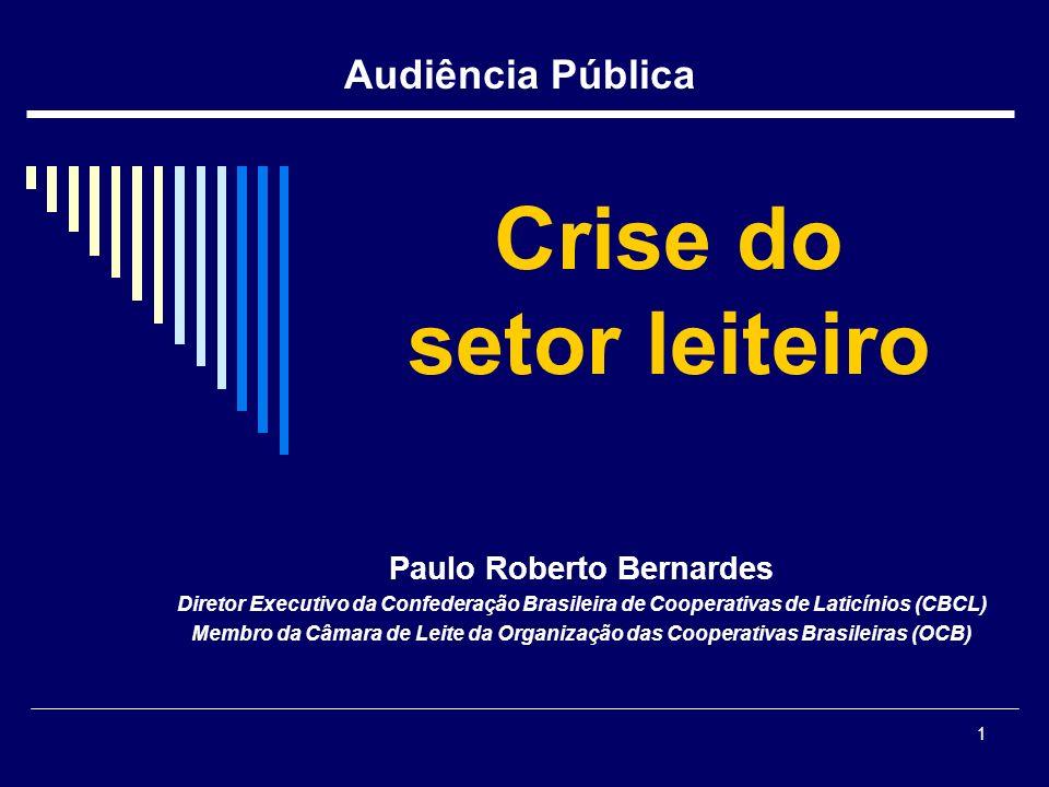 1 Crise do setor leiteiro Paulo Roberto Bernardes Diretor Executivo da Confederação Brasileira de Cooperativas de Laticínios (CBCL) Membro da Câmara d