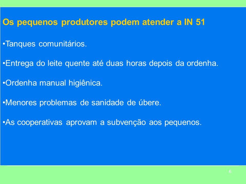 6 Os pequenos produtores podem atender a IN 51 Tanques comunitários. Entrega do leite quente até duas horas depois da ordenha. Ordenha manual higiênic