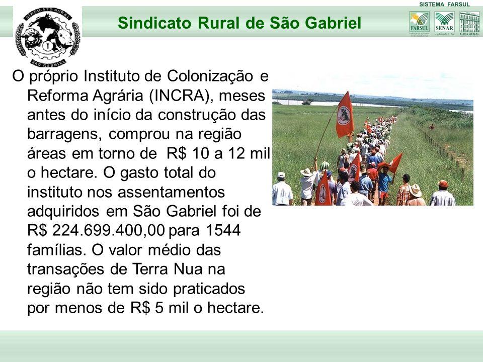 O próprio Instituto de Colonização e Reforma Agrária (INCRA), meses antes do início da construção das barragens, comprou na região áreas em torno de R