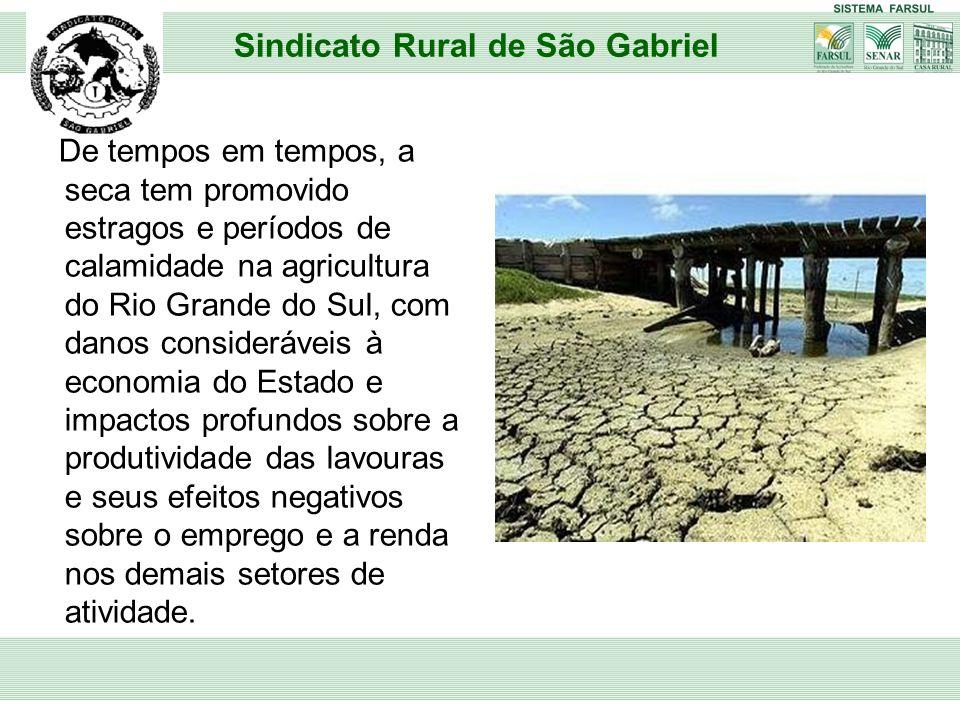 De tempos em tempos, a seca tem promovido estragos e períodos de calamidade na agricultura do Rio Grande do Sul, com danos consideráveis à economia do