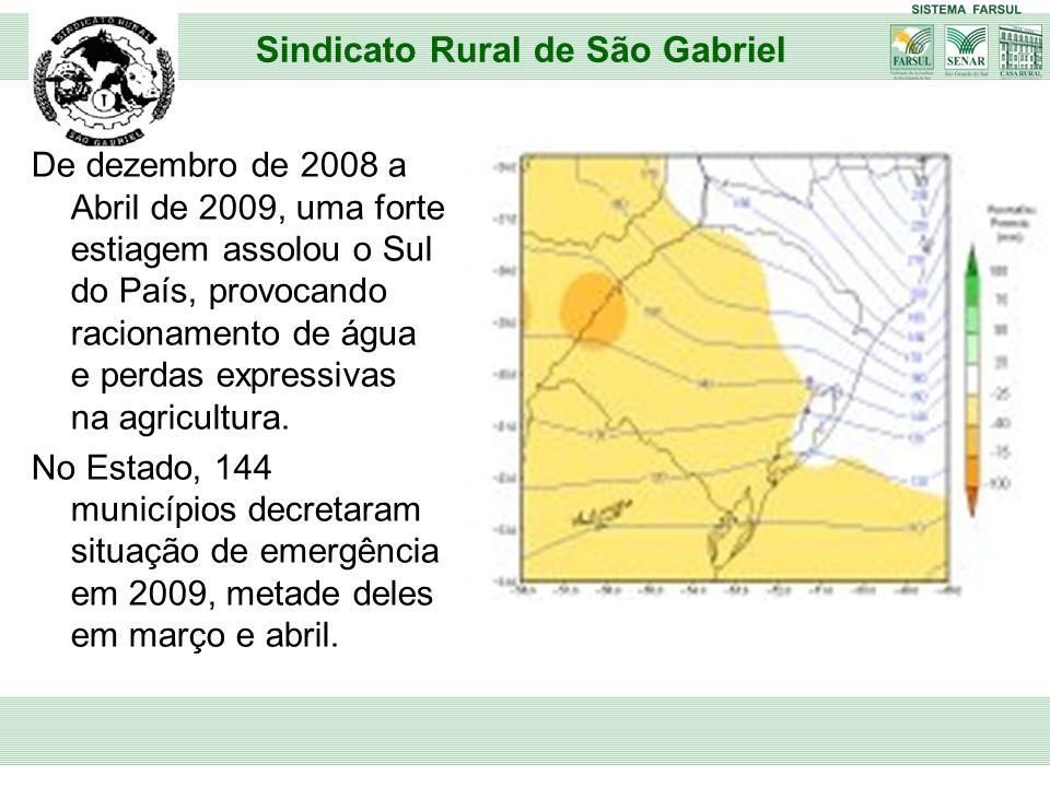 De dezembro de 2008 a Abril de 2009, uma forte estiagem assolou o Sul do País, provocando racionamento de água e perdas expressivas na agricultura. No