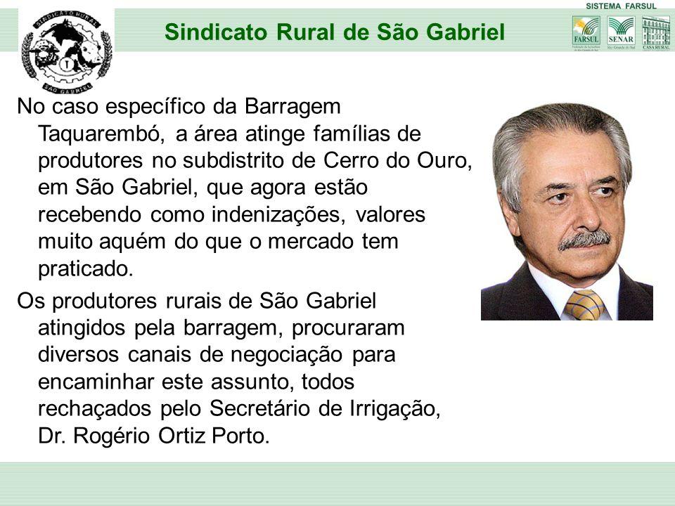 No caso específico da Barragem Taquarembó, a área atinge famílias de produtores no subdistrito de Cerro do Ouro, em São Gabriel, que agora estão receb