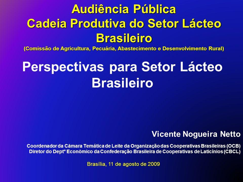 Vicente Nogueira Netto Coordenador da Câmara Temática de Leite da Organização das Cooperativas Brasileiras (OCB) Diretor do Dept° Econômico da Confede