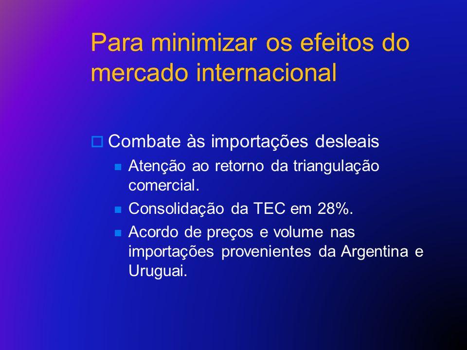 Para minimizar os efeitos do mercado internacional Combate às importações desleais Atenção ao retorno da triangulação comercial. Consolidação da TEC e